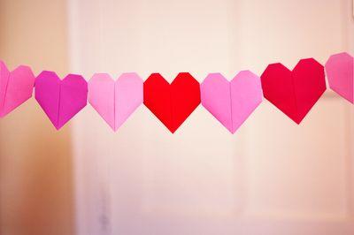 origami heart garland <3