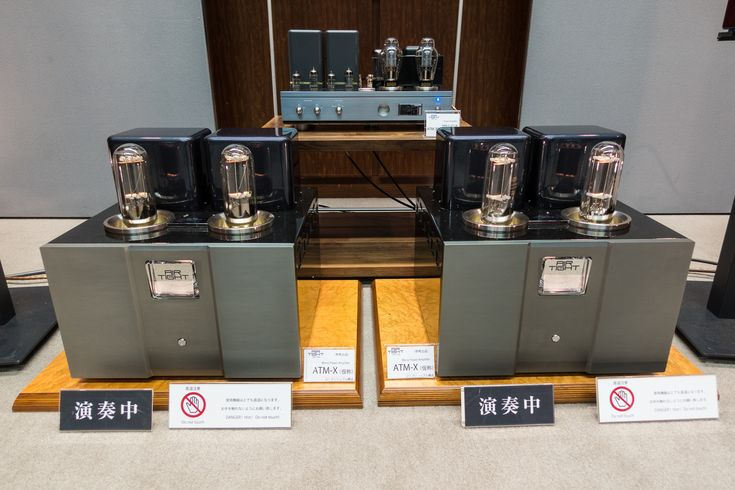 A pair of the new Air Tight ATM X monoblock tube amplifiers.