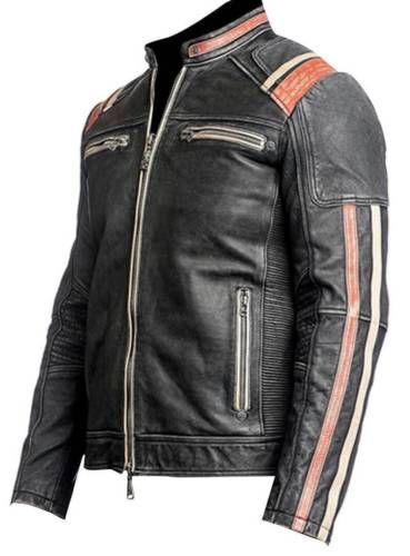 Retro Moto Biker Cafe Racer Men Vintage Black Distressed Leather Jacket