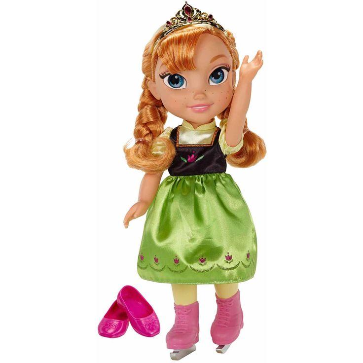 Disney Frozen Dukke Anna Toddler Skøyter er den populære prinsessen fra filmen Frost. Anna har en vakker kjole og tiarapå seg. Denne dukken har til og med skøyter og et par vanlige sko som du kan ta på henne. Annas øyne reflekterer som ordentlige øyne og gjør leken mer virkelig.<br><br>Mål: H 35 cm.<br><br>Anbefalt alder: Fra 3 år.