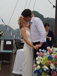 Our wedding in Ha Long Bay, Vietnam. #travel #ditchyourdesk #wanderlust #travelblogger #digitalnomad #destinationwedding #wedding #halongbay