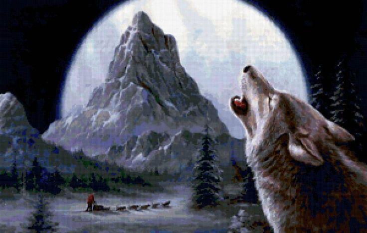 вой волка, пейзаж, волк, гора, луна, зима, ночь, предпросмотр