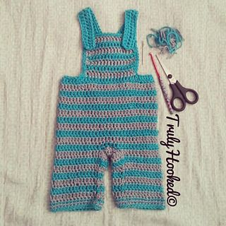 *Free Crochet Pattern:  Baby dungarees by Verity Castledine