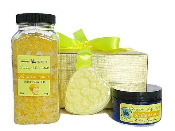 Lemon Bath Gift Set Bath Gift Sets get well by AromaScentsLLC