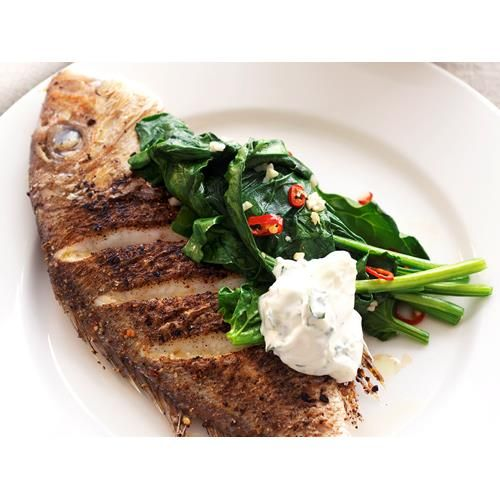 Chermoula-rubbed snapper with coriander yoghurt sauce recipe - By Australian Women's Weekly, Add a spicy Moroccan kick to your seafood dish with this chermoula infused snapper recipe, served with a thick, minty yoghurt sauce.