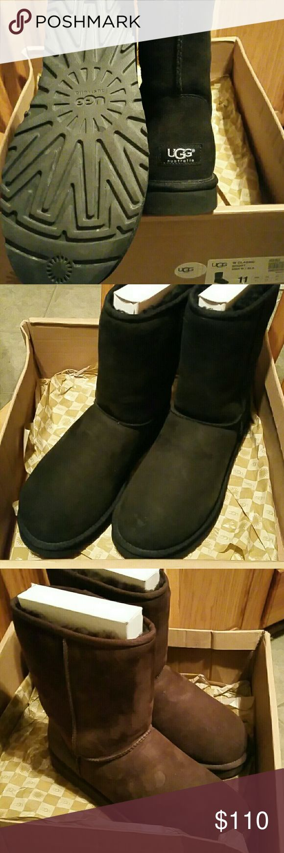 UGG Classic Short Boots Black or Brown, Size: 11, perfect condition! UGG Shoes Winter & Rain Boots