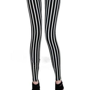 Classical Zebra Black and White Vertical Striped Leggings