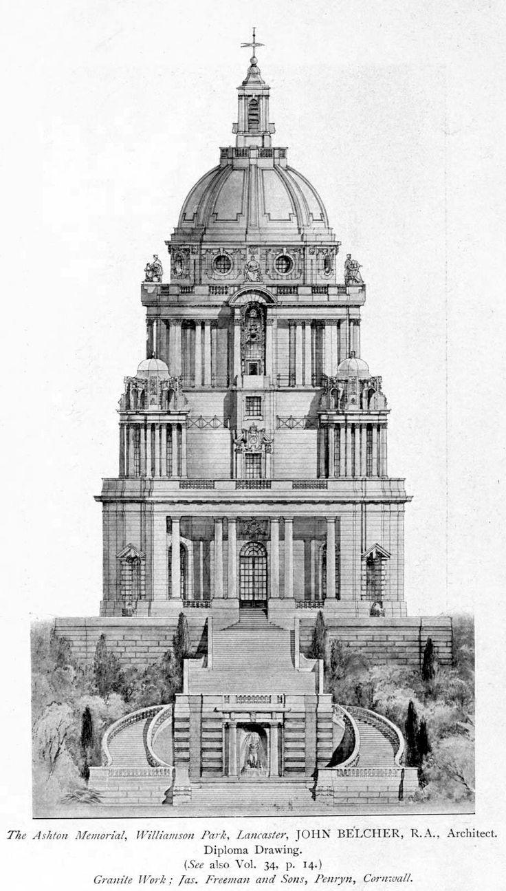 Elevation of Belcher's Ashton Memorial in Williamson Park, Lancaster