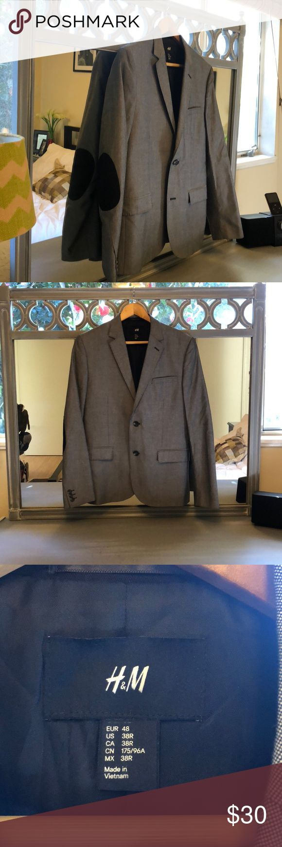 Men's H&M Grey Sport Coat Size 38R Only worn once or twice. H&M Grey Sport Coat with Black Patch Elbows. Size US 38R. H&M Suits & Blazers Sport Coats & Blazers