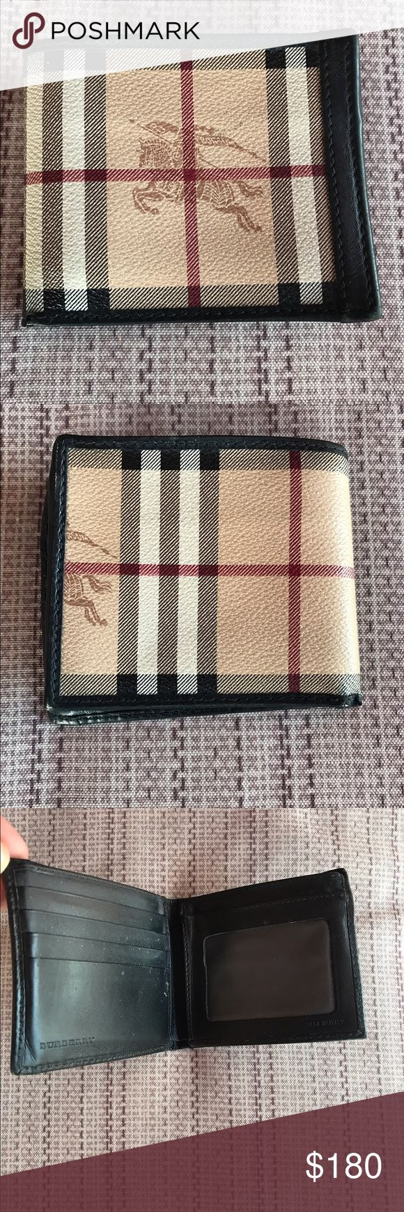 Authentic Burberry wallet for men 100% authentic , I bought it myself at the Burberry store.  It is in pretty good condition, you won't be disappointed, I just used it for 2 months because I got a Louis Vuitton wallet and I like it better.  It just have a light damage as you can see in the last picture.. Burberry Accessories Key & Card Holders