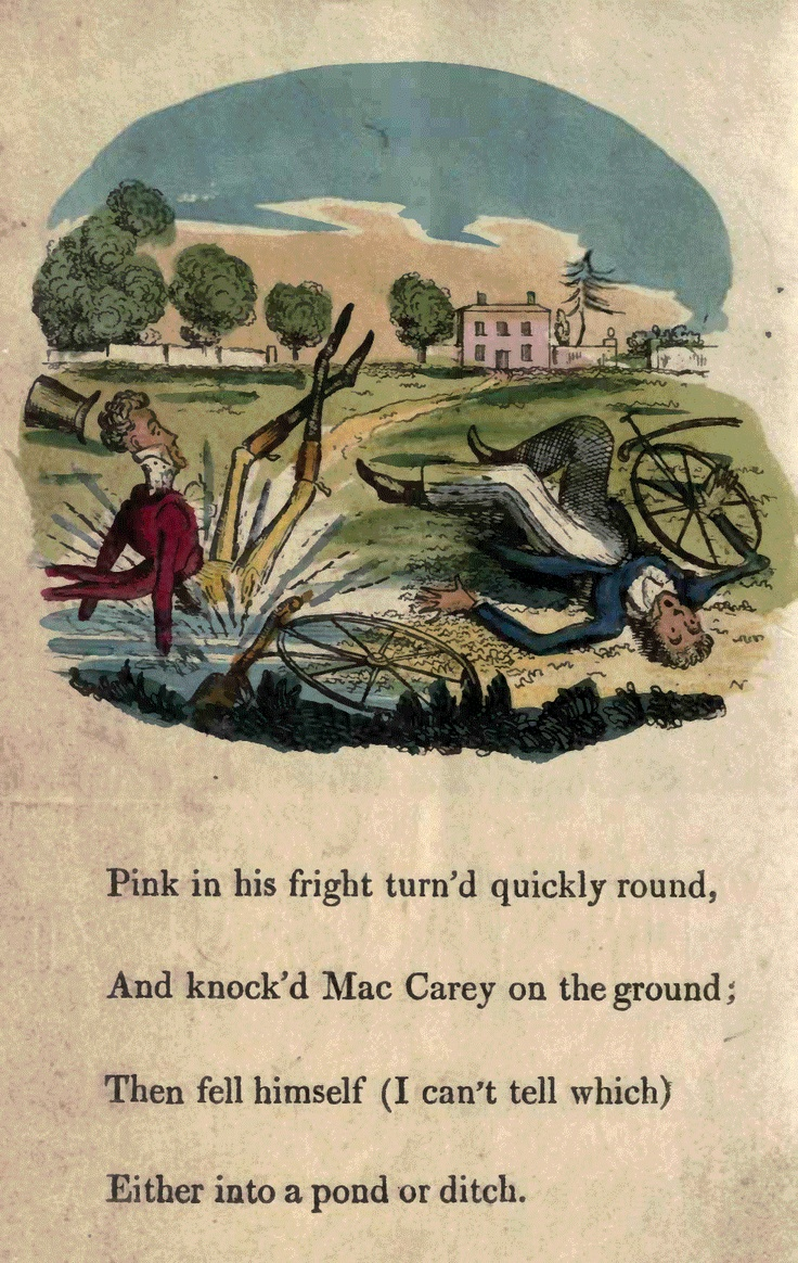 Page 6  Pink in his fright turned quickly 'round, And knocked Mac Carey on the ground; Then fell himself (I can't tell which) Either into a pond or ditch.