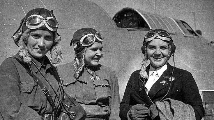 """""""Homeland"""" The crew of the aircraft. From left to right: Marina Raskova, Polina Osipenko, Valentina Grizodubova."""