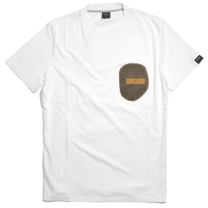 Green Velvet Pocket Tee - White