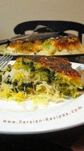 Tahchin e esfenaj (Baked saffron yogurt rice with spinach)