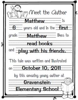 "Meet the Author- use when we do ""Treasures"" /author study unit!"