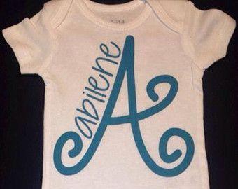 INFANT Custom Monogram Shirt Bodysuit Name and Letter Newborn Gift