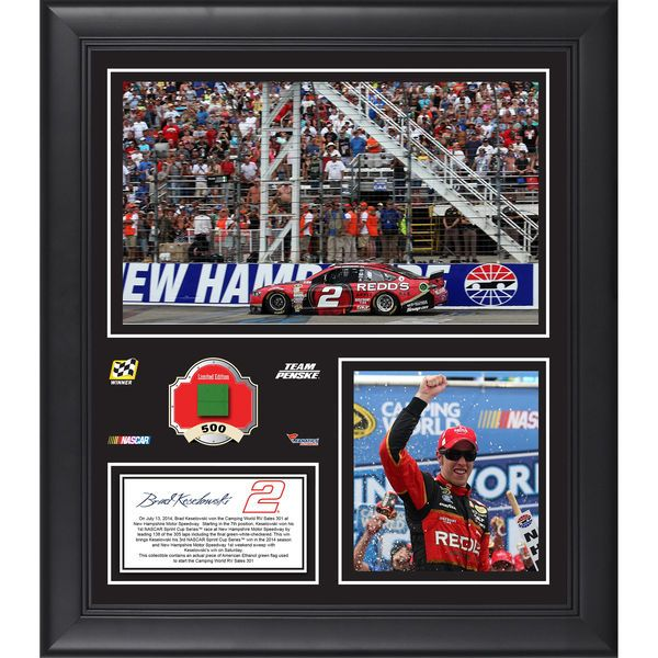 """Brad Keselowski Fanatics Authentic Framed 15"""" x 17"""" 2014 Camping World RV Sales 301 Winner Collage With Race-Used Tire - $79.99"""