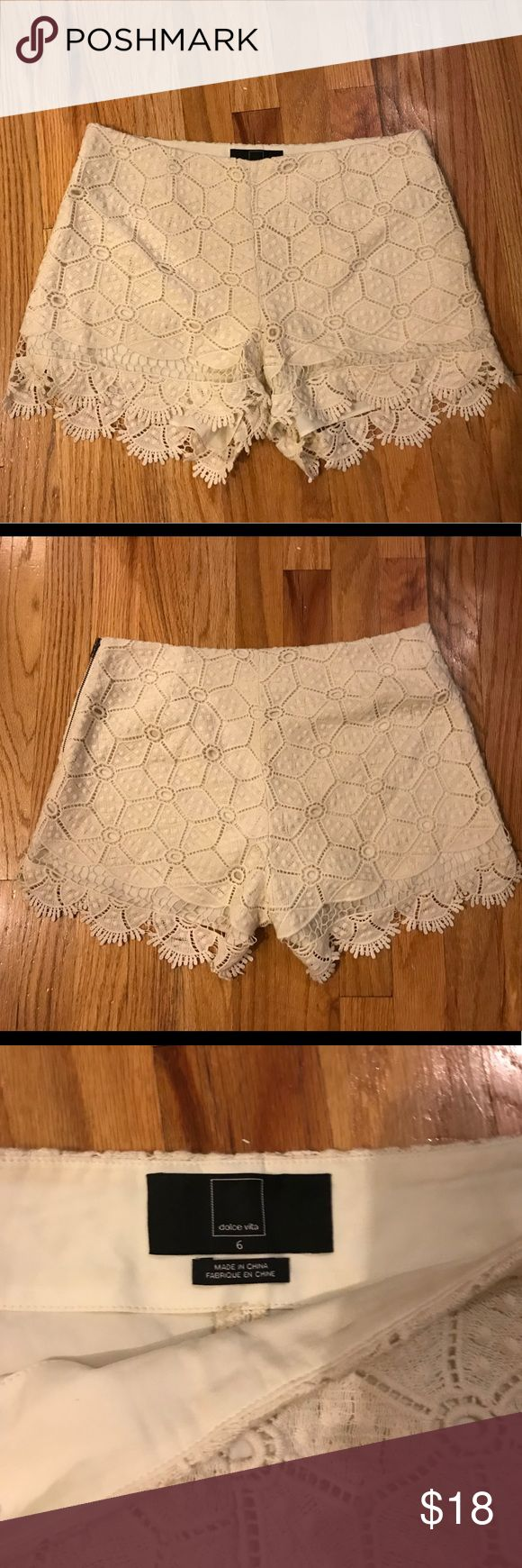 Dolce Vita Cream Lace Shorts Lace shorts in cream by Dolce Vita (Urban Outfitters). Only worn a couple of times - in great condition! Dolce Vita Shorts