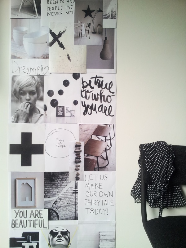 A lovely mood board.: Wall Art, Wall Collage, Inspiration Wall, Mood Boards, Inspiration Boards, Black White, Crossword Puzzle, Inspiration Quotes, Dreams Boards