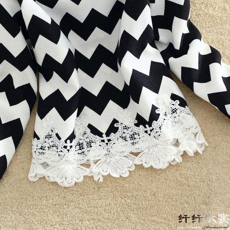 2015 новых осень корейской тонкий кружева женщины с рукавом рубашки, Черно белой печать и белые волны тонкий женщины мода t дешевая распродажа купить на AliExpress