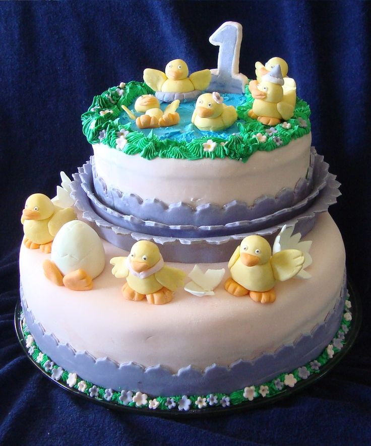 1 year old baby chick cake for Inara