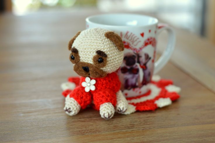 Crocheted coaster, Table and home decor, Handmade drink coaster, Sculpture, Fiber arts, Pug gift, Pug in Drink, Pug Miniature,Crocheted pug by bySissi on Etsy