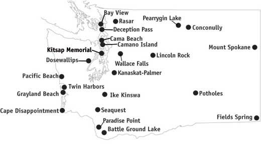 Washington State Parks with yurt and cabin rentals.