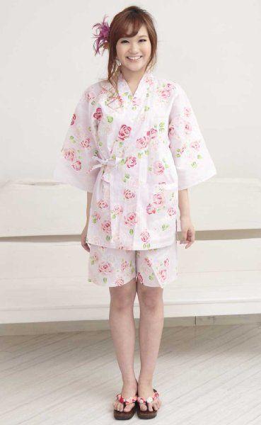 【和柄ピンク地 ローズ】 浴衣地 甚平 レディース M~Lサイズ:Amazon.co.jp:アパレル&ファッション雑貨