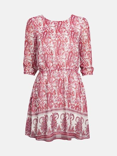Dress with open back and three-quarter sleeves. Elastic band at waist and cuffs. Closes with metal chain in the neck. Lined. Regular fit. Multi