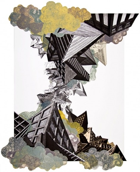 Nicola Lopez. Air. Etching with carbonrundum collograph and collage. 47 x 35 in. 2008