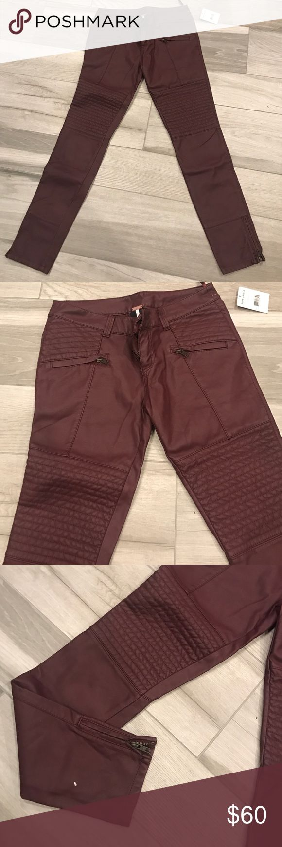 Free people faux leather pants in burgendy Free people faux leather biker pants. Style is skinny. Brand new with tag. Color is burgendy. Size 4 Free People Pants Skinny