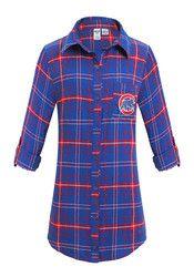 Chicago Cubs Womens Blue Flannel Sleep Shirt