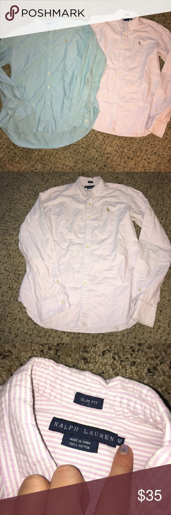 Polo Ralph Lauren slim fit button downs 2 Polo Ralph Lauren ladies button down slim fit shirts. Both size 12 - both in excellent condition - both slim fit. One is lavender and white striped. The second is a green/blue color. Polo by Ralph Lauren Tops Button Down Shirts