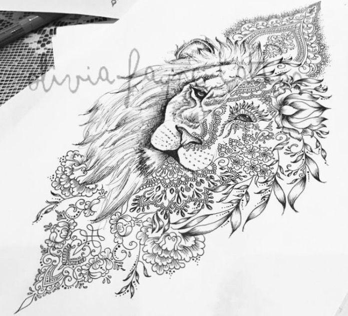 Lion Mendala hybride  – Ideeen für Tattos
