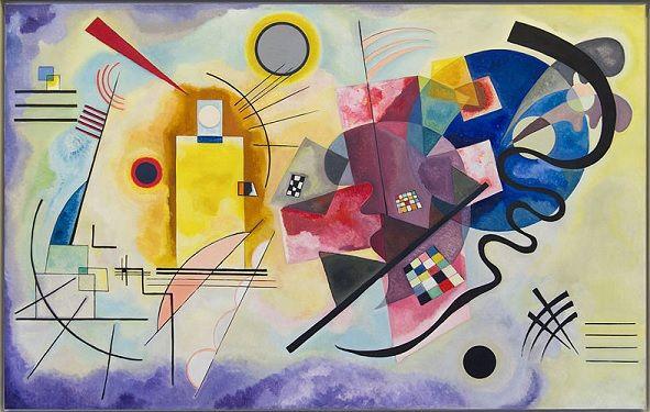 #Abstracción Abstracción Lírica. Yellow-Red-Blue-1925-Wassily Kandinski  El arte Abstracto crea imágenes a través de las formas  y lineas que juntas crean una composición.