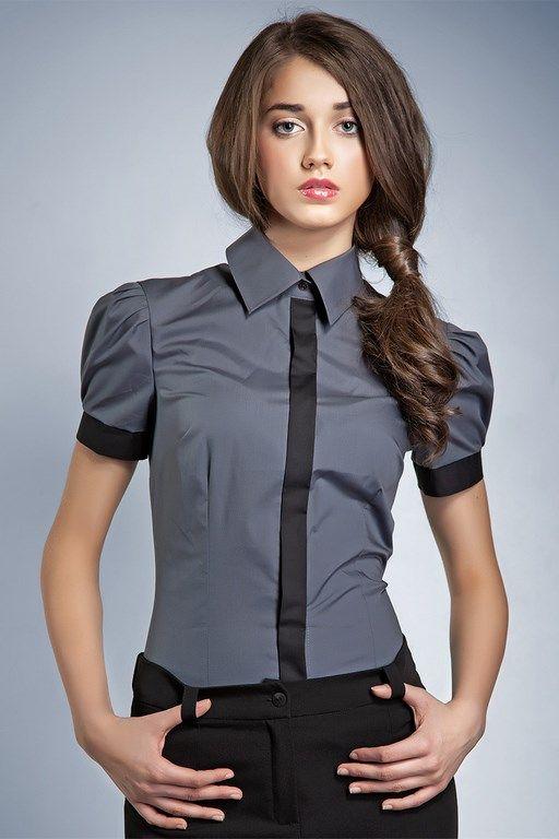 Szara koszula damska z kontrastującym paskiem