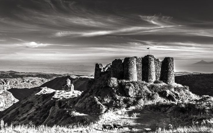 """Fortress Amberd and Vahramashen Church by Kar Yan  Amberd is the name given to the 7th-century Armenian fortress located 2,300 meters above sea level, on the slopes of Mount Aragats at the confluence of the Arkashen and Amberd rivers in the province of Aragatsotn, Armenia. The name translates to """"fortress in the clouds"""" in Armenian. It is also the name incorrectly attributed to Vahramashen Church, the 11th-century Armenian church near the castle."""