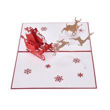Vrolijk Kerst Herten Elanden Vervoer Vintage 3D laser cut pop up papier custom wenskaarten souvenirs ansichtkaarten kerstcadeaus(China (Mainland))