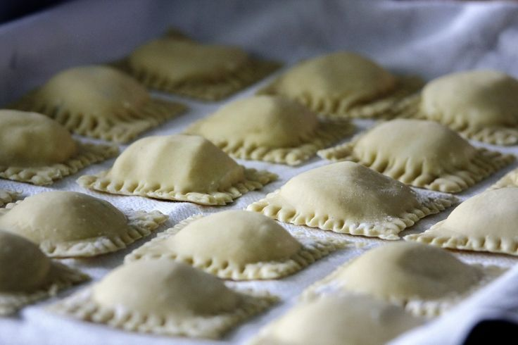 Homemade Ravioli... but uses a pasta press... however could do by hand. Meat filled ravioli