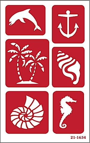 Re-usable Seashore theme Glass Etching stencil #21-1634 by Armour Products for use with Armour Glass Etching creme.  Available @ www.etchworld.com See our project corner for glass etching projects using this stencil.