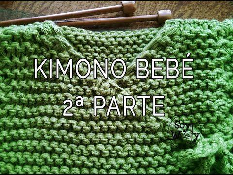 Teje una chaqueta baby kimono con dos agujas 2ª parte - YouTube