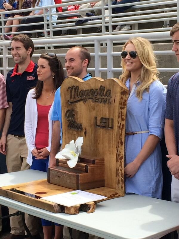New Rivalry Trophy for the Magnolia Bowl ~ check this out too ~ RollTideWarEagle.com sports stories that inform and entertain and Train Deck to learn the rules of the game you love. #Collegefootball Let us know what you think. #Ole Miss #LSU