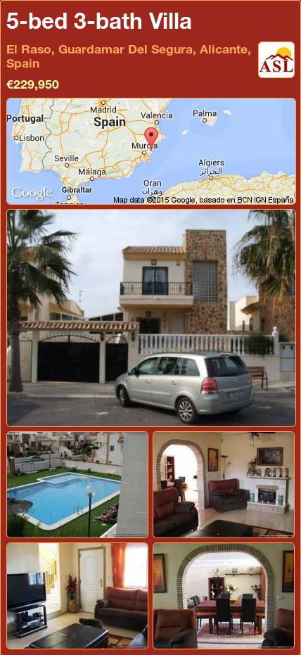 5-bed 3-bath Villa in El Raso, Guardamar Del Segura, Alicante, Spain ►€229,950 #PropertyForSaleInSpain