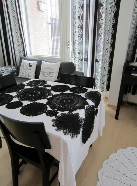 Dyed doilies table runner.