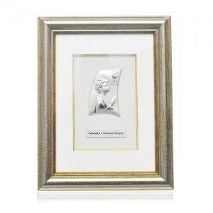 Pamiątka Pierwszej Komunii Świętej Srebrny obrazek w ramce dla chłopca