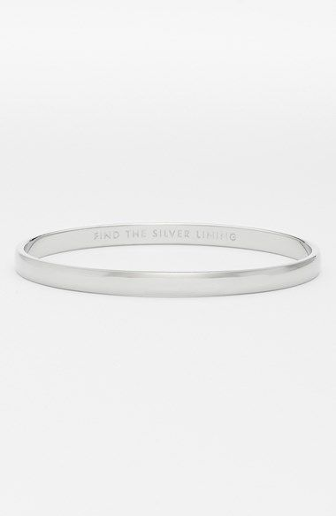 """Free shipping and returns on kate spade new york 'idiom - find the silver lining' bangle at Nordstrom.com. A slim, stackable bangle plated in polished precious metal hides a meaningful """"find the silver lining"""" engraving inside."""