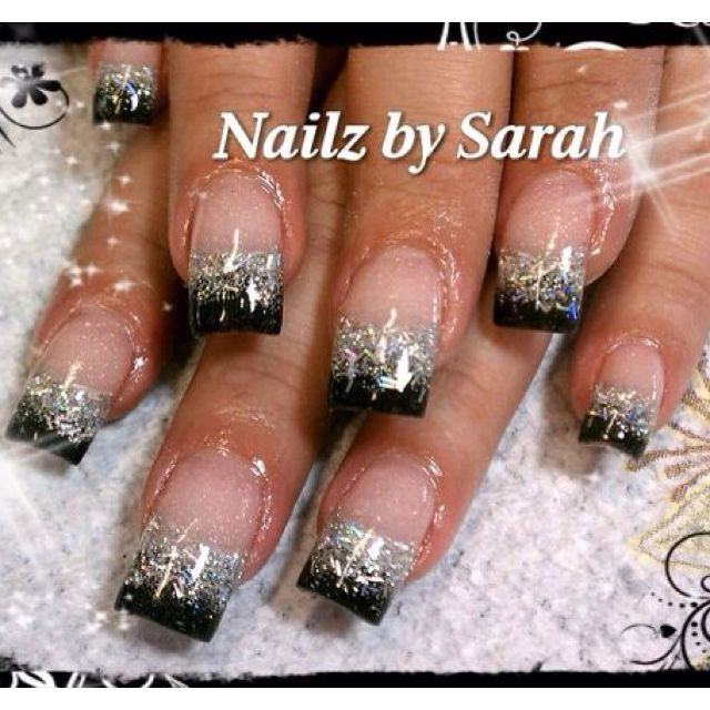 Black and silver tips. Nail art design.   Nails   Pinterest