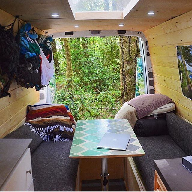 A great dinette setup with a skylight!! by @supervan_adventures  Show off your Sprinter Van! Tag your pics #sprintercampervans to be featured  Regram via @sprintercampervans