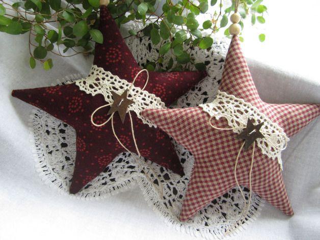 Baumschmuck: Stoff - Weihnachtsbaumschmuck zwei Sterne/ Landhaus Stil - ein Designerstück von Feinerlei bei DaWanda
