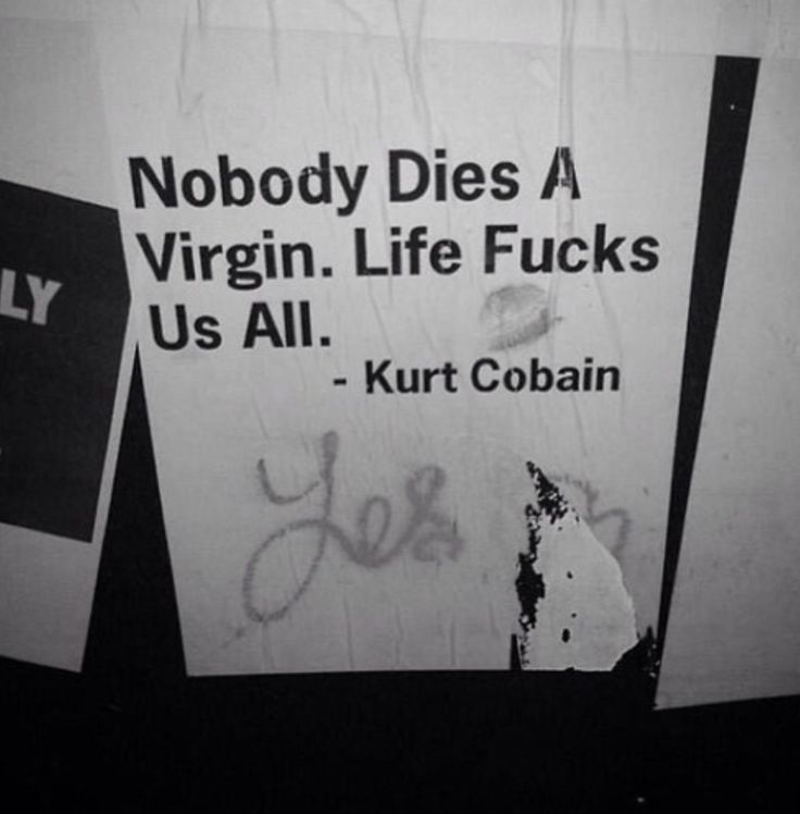 Nobody Dies a Virgin. Life Fucks us All. - Kurt Cobain